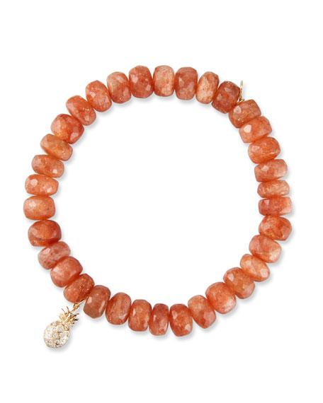 14k Sunstone Rondelle Bracelet w/ Pineapple