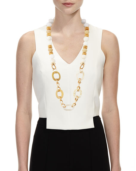 Horn Link & Raffia Chain Necklace