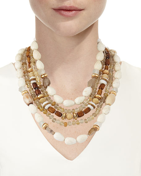 Five-Strand Beaded Statement Necklace