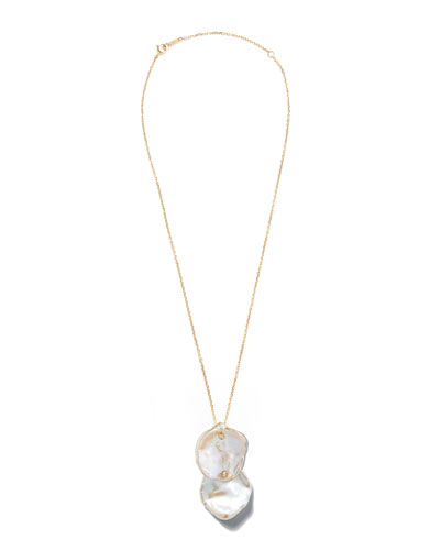 14k Double Petal Pearl Pendant Necklace