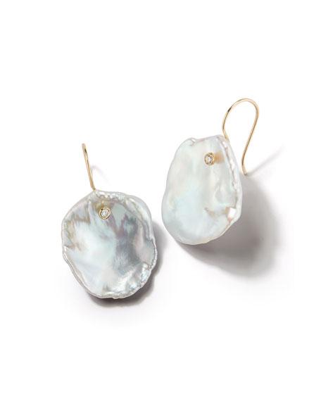 14k Freshwater Petal Pearl & Diamond Drop Earrings
