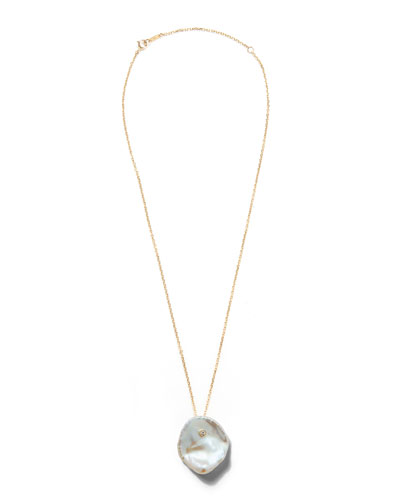 14k Single Petal Pearl Pendant Necklace