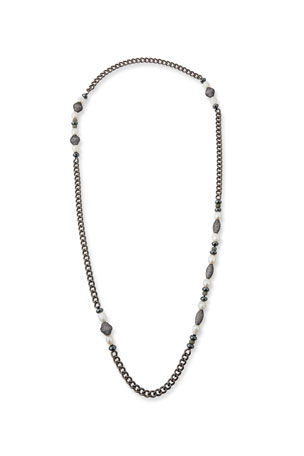 Hipchik Linda White Pearl & Long Chain Necklace