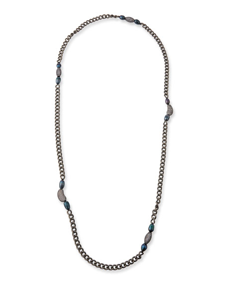 Hipchik Marly Blue Pearl & Long Chain Necklace