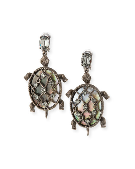 Shell Turtle Earrings, Silvertone