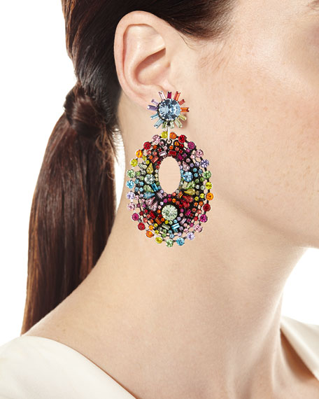 Mathilde Rainbow Crystal Drop Earrings
