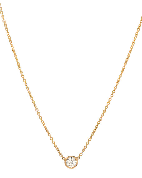 14k Yellow Gold Small Bezel Diamond Necklace