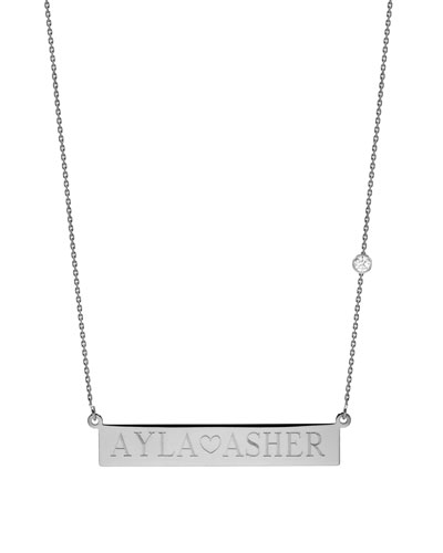 Personalized Nameplate Necklace w/ Diamond, 14k White Gold