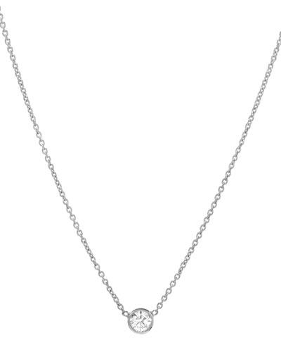 14k White Gold Small Bezel Diamond Necklace