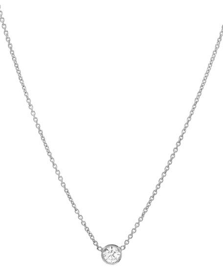 14k White Gold Small Bezel Diamond Necklace
