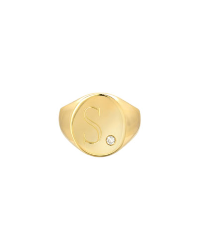 Large Personalized Initial Signet Ring w/ Diamond  14k Yellow Gold