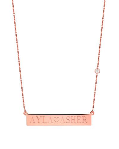 Personalized Nameplate Necklace w/ Diamond, 14k Rose Gold