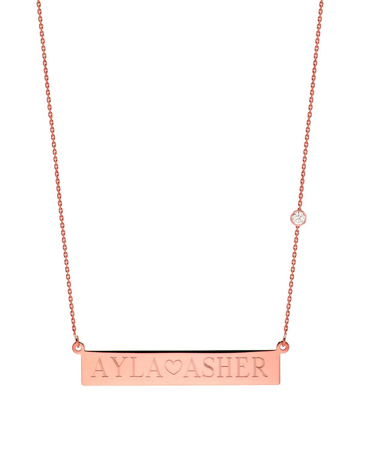 zoe lev jewelry personalized nameplate necklace w diamond. Black Bedroom Furniture Sets. Home Design Ideas