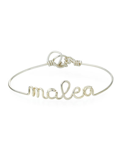 Personalized 10-Letter Wire Bracelet, Silver