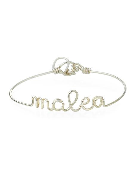 Personalized 10-Letter Wire Bracelet, Silver