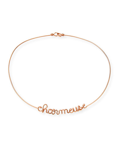Personalized 6-Letter Wire Necklace, Rose Gold Fill