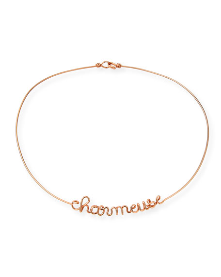Atelier Paulin Personalized 6-Letter Wire Necklace, Rose Gold