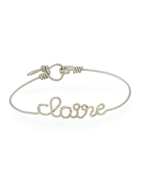 Personalized 10-Letter Twist Wire Bracelet, Silver