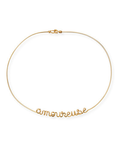 Personalized 12-Letter Wire Necklace, Yellow Gold Fill