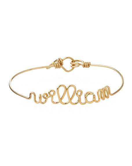 Atelier Paulin Personalized 10-Letter Wire Bracelet, Yellow Gold