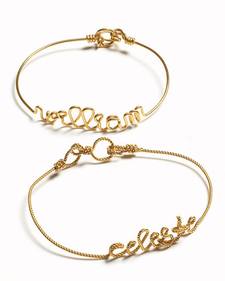 Personalized 5-Letter Twist Wire Bracelet, Yellow Gold Fill