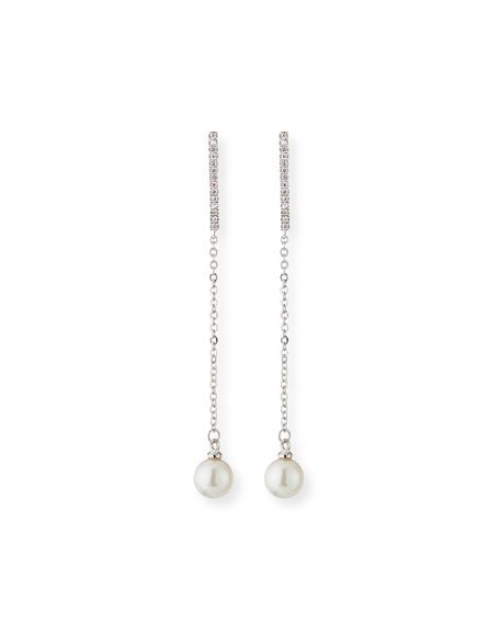 Fallon Pave Pearly Thread Drop Earrings