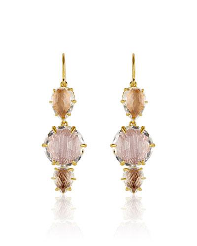 Caterina 3-Drop Earrings, Bellini/Ballet/Fawn