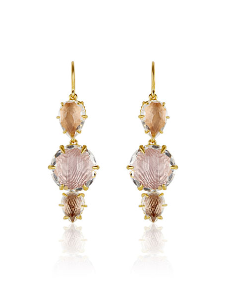 Caterina 3-Drop Earrings, Bellini/Ballet/Fawn