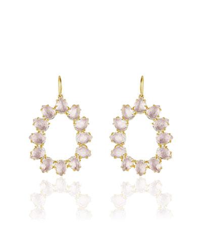 Caterina Small Frame Earrings, White Quartz