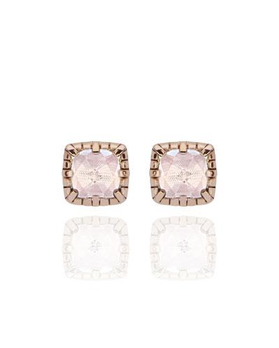 Bella Stud Earrings, White Quartz