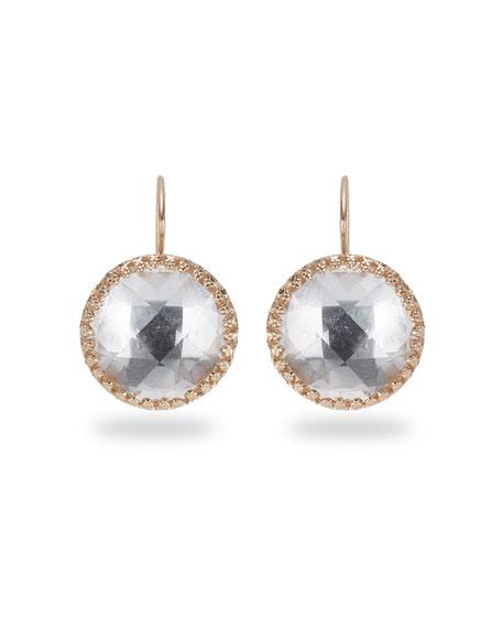 Olivia Button Earrings, White Quartz