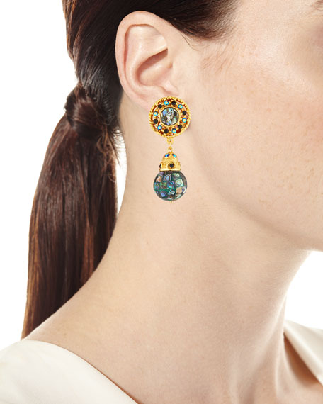 Abalone & Crystal Clip-On Drop Earrings
