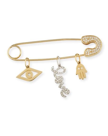 SYDNEY EVAN 14K GOLD SAFETY PIN CHARM CATCHER