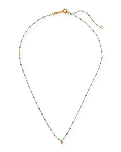 Enamel Necklace w/ Cubic Zirconia & Beads
