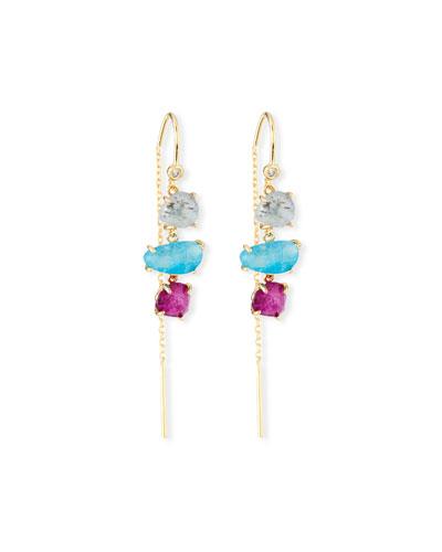 Three-Stone Threader Earrings