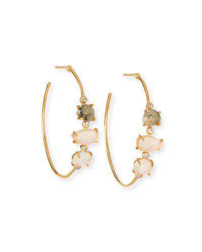 Multicolored Stone Hoop Earrings