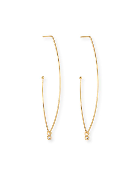 Tear-Shaped Hoop Earrings w/ CZ Charm
