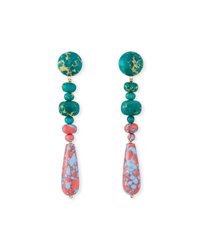 Copacabana Earrings, Pink/Blue