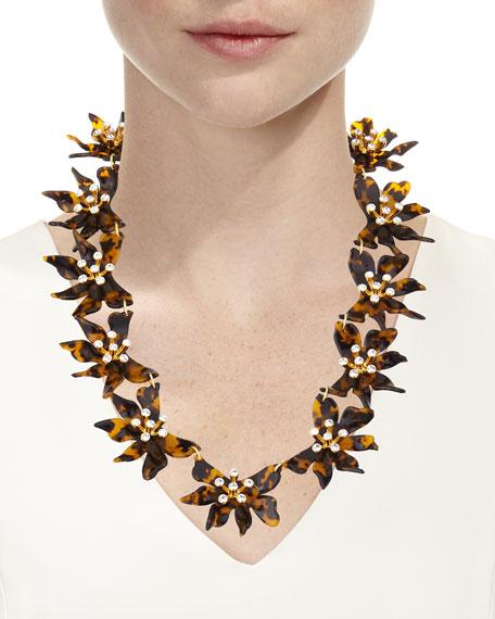 Daffodil Flower Necklace w/ Crystals