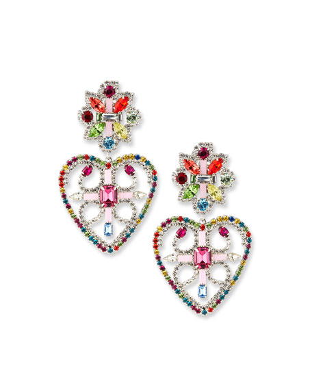 Dannijo Camellias Rainbow Heart Earrings