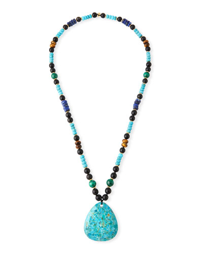 Long Beaded Turquoise Pendant Necklace w/ Mixed Stones