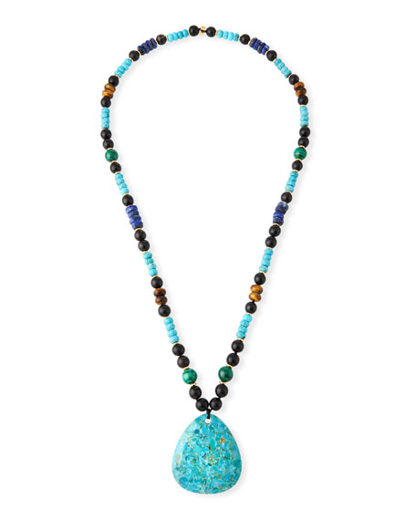 NEST Jewelry Long Beaded Turquoise Pendant Necklace w/