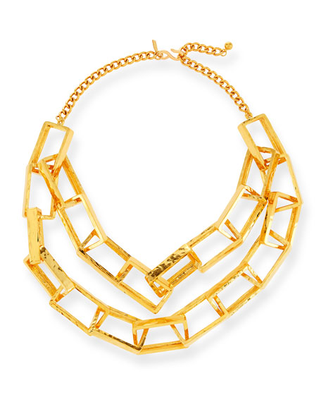 Short Gold-Plated Box Chain Necklace