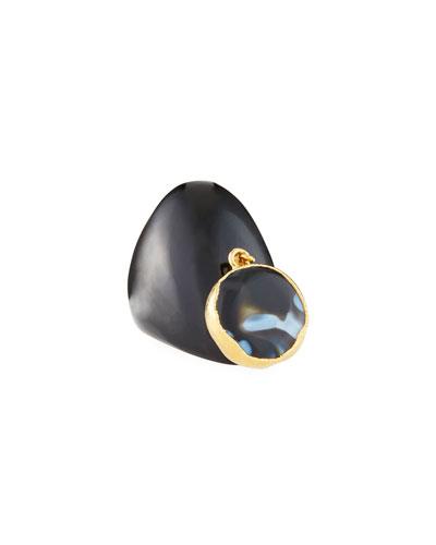 Black Horn Ring w/ Agate Charm