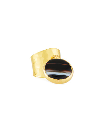 Hammered Gold-Plate Ring with Black Agate Charm, Adjustable