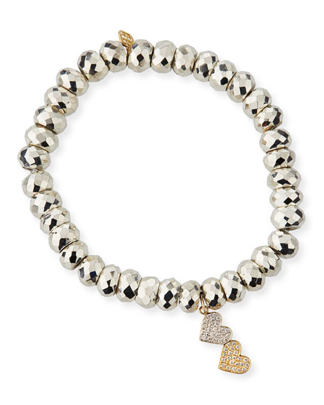 Sydney Evan 14k Gold Two-Tone Diamond Heart Bracelet