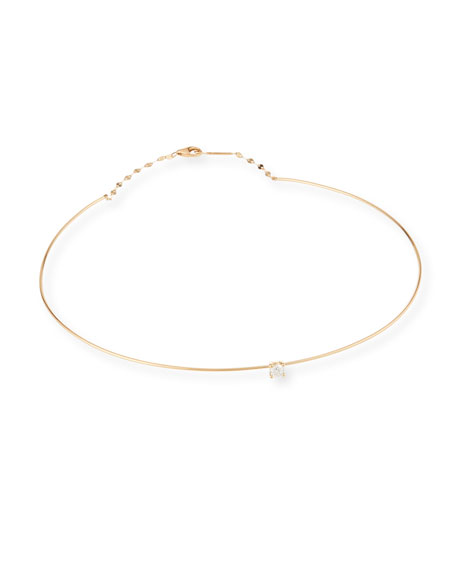 Lana 14k Gold Wire Choker Necklace w/ Diamond