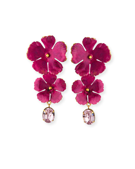 Jennifer Behr Jacinta Double-Flower & Crystal Drop Earrings