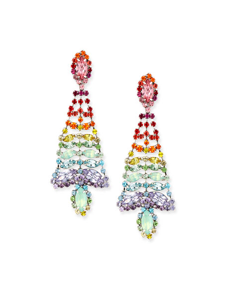 Dannijo Lala Rainbow Crystal Statement Chandelier Earrings