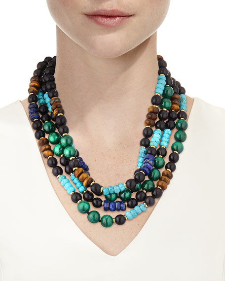 Multi-Strand Beaded Necklace with Malachite & Turquoise